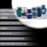 Keepsake Cremation Urns, (Choose Color), Small Funeral Urns for Human Ashes w/Velvet Box, by Fedmax.