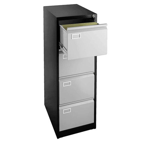 4 Drawer File Cabinet - Black with Grey Doors
