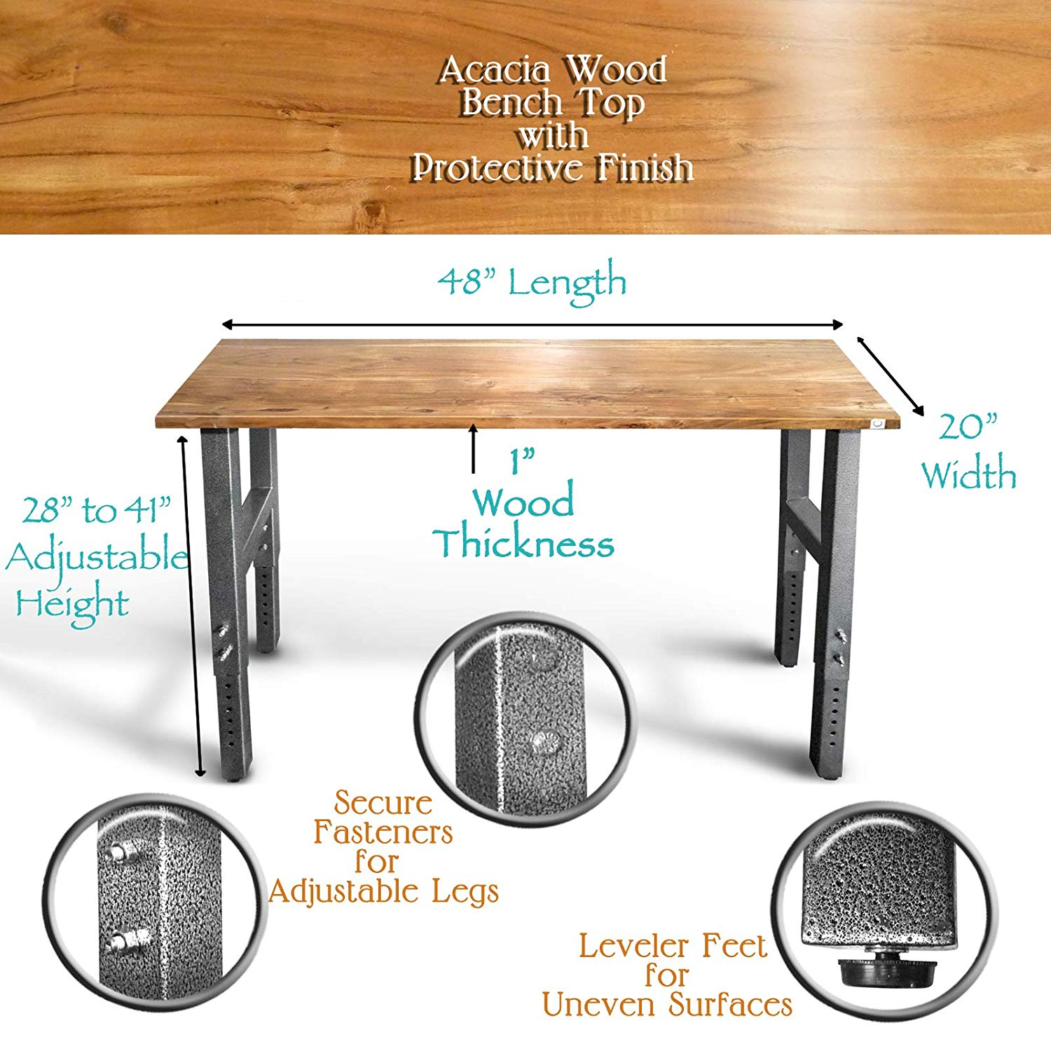 Fine Mobile Garage Workbench W Casters Acacia Hardwood Top Dailytribune Chair Design For Home Dailytribuneorg