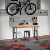 Mobile Garage Workbench w/Casters | Acacia Hardwood Top | Adjustable Height Legs | Great as Garage Workshop Tool Bench