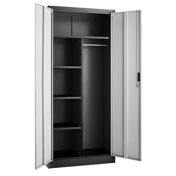 Fedmax Steel Wardrobe Cabinet (Bar on Right Side) - Black