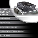 Fedmax Car Rooftop Carrier for Small Cars | Waterproof | Lock Included | Roof Top Luggage Bag (12CFT - Use with or Without Racks) …