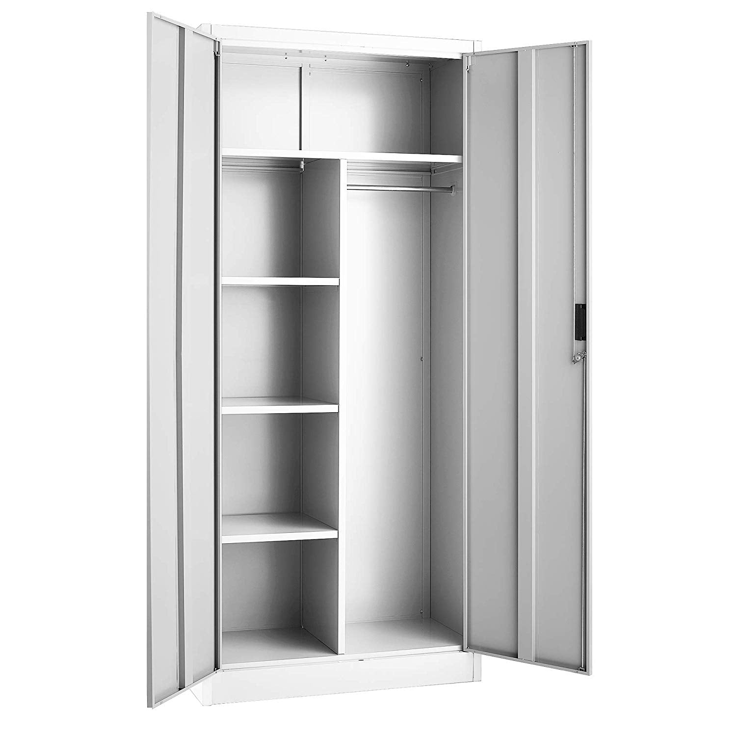 Fedmax Steel Wardrobe Cabinet (Bar on Right Side) - White