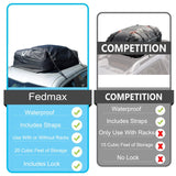 Fedmax Car Rooftop Carrier | Waterproof | Lock Included | Roof Top Luggage Bag (20CFT - Use with or Without Racks)