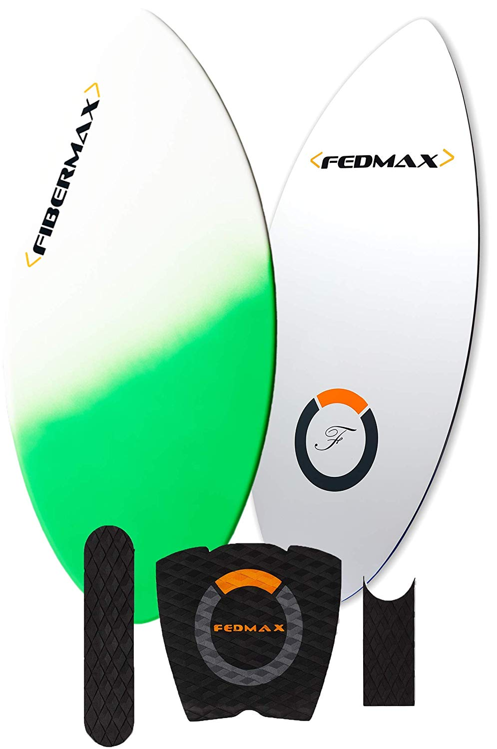 Fedmax Skimboard with Fiberglass Body & Carbon Fiber Tip Hybrid | with Traction Grip Set | Ultimate Tips Manual