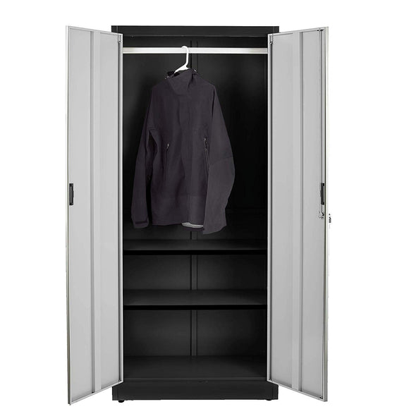 Fedmax Steel Wardrobe Cabinet (Bar on top) - Black