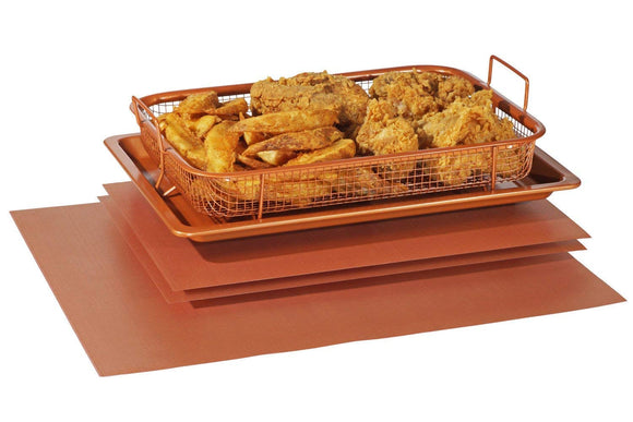 Crisper Copper Baking Sheet Air Fryer - Deluxe Multi-Purpose Copper Crisper Chef Pan Sheet with Non Stick Mesh Grill Crisper Tray - Oven Safe Non-Stick Square Pan Design