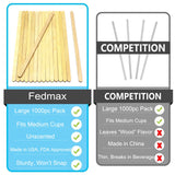 Coffee Stirrer Sticks, 1000pc, 5.5 Inches, 100% White Birch Wood Great for Mixing Coffee and other Drinks and Beverages, FDA Approved and Made in the USA, by Fedmax.