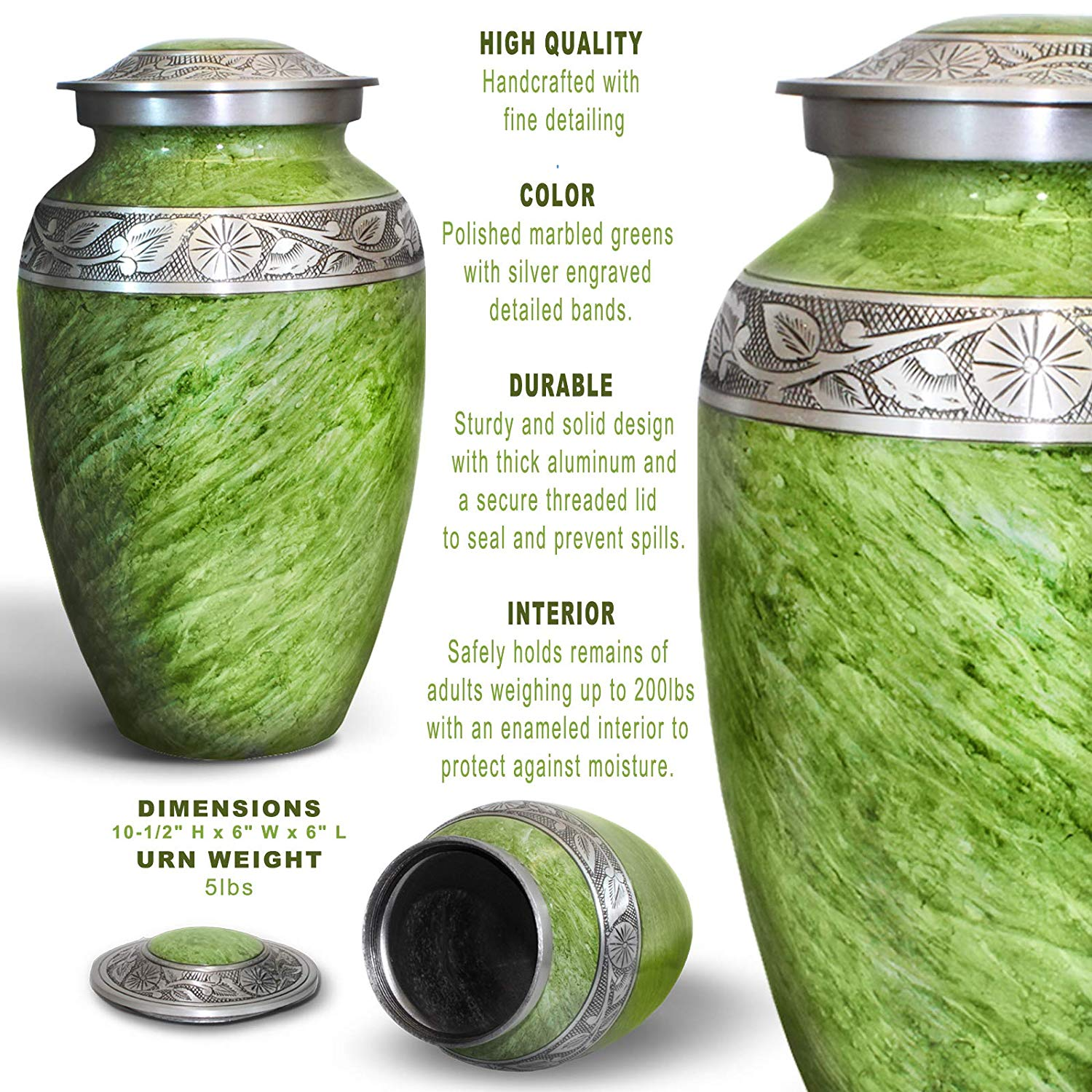 Cremation Urn for Ashes, for Adults up to 250lbs, Funeral