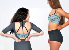 A Total Package Leotard Set - All three pieces for one price!  Gray Leotard, Sage Print Top and Black Briefs