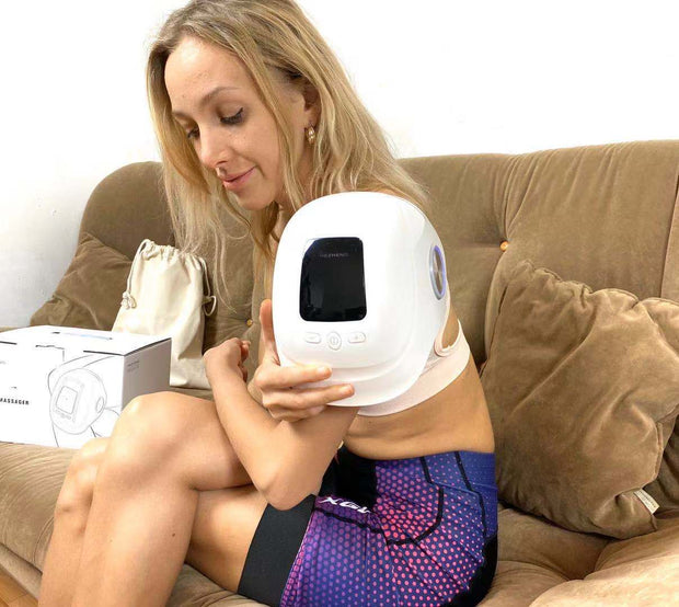 Heated knee massager with TENS EMS pads, compression knee massager air bag kneading and vibration massage for knee pain, stiffness and soreness