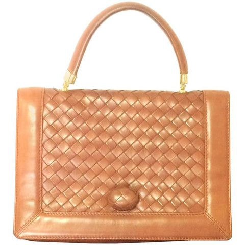 Vintage Bottega Veneta intrecciato brown woven lambskin handbag with matching turn-lock closure.
