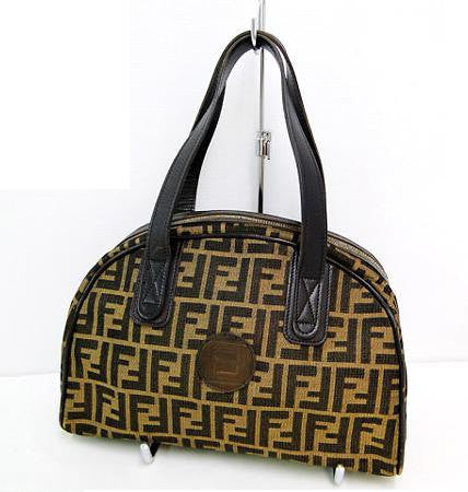 SOLD OUT: Vintage Fendi jacquard fabric tote with leather trimmings