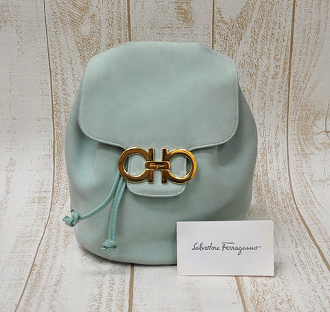 SOLD OUT: Vintage Salvatore Ferragamo mint blue color leather backpack