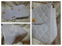 SOLD OUT: Vintage CHANEL light purple quilted suede purse with gold tone chain strap. Very nice and soft