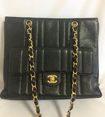 Vintage CHANEL rare 2.55 combo design black caviar leather chain shoulder bag with vertical stiches and golden CC closure hock.