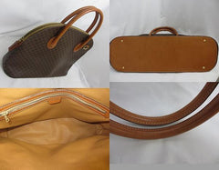 SOLD OUT: 90's vintage Celine traditional Macadam pattern tote in bolide shape with leather trimmings