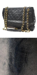 SOLD OUT: Vintage CHANEL quilted lambskin black large tote with Gold-tone CC charm