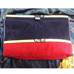 Reserved for Win. 80's Vintage Roberta di Camerino, Ambassador, red, navy, and beige velvet clutch purse, makeup, cosmetic pouch with golden R logo motif.