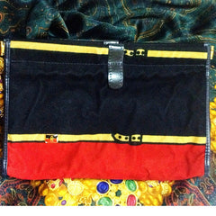 Vintage Roberta di Camerino, Ambassador, red, navy, and beige velvet clutch purse, makeup, cosmetic pouch with golden logo motif.