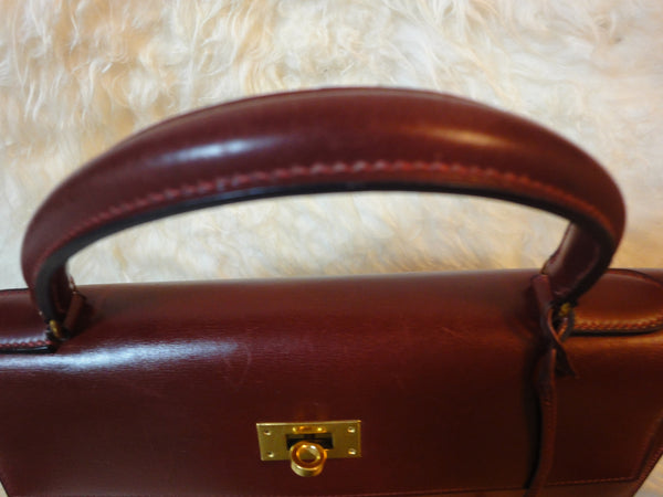 2f3d8e03726a Exterior 1980s Vintage HERMES Kelly 32 bag rouge ash box calf leather with gold  hardware. Exterior ...