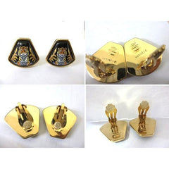 MINT. Vintage Hermes cloisonne golden earrings with tiger design in black. Great gift idea