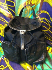 SOLD OUT: 90s Vintage PRADA nylon backpack with leather trimmings