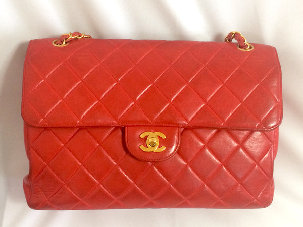 7b18837044 ... Vintage CHANEL lipstick red lambskin 2.55 classic jumbo, large shoulder  bag with double side flap ...