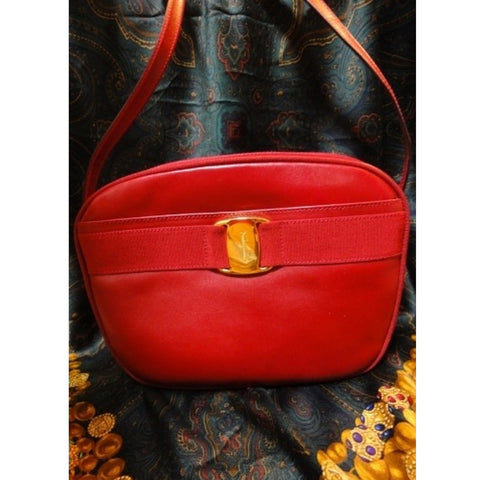 SOLD OUT: Vintage Salvatore Ferragamo vara collection red leather purse with gold tone ferragamo charm