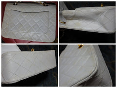 SOLD OUT: Vintage CHANEL white, ivory 2.55 classic purse with gold tone chain strap