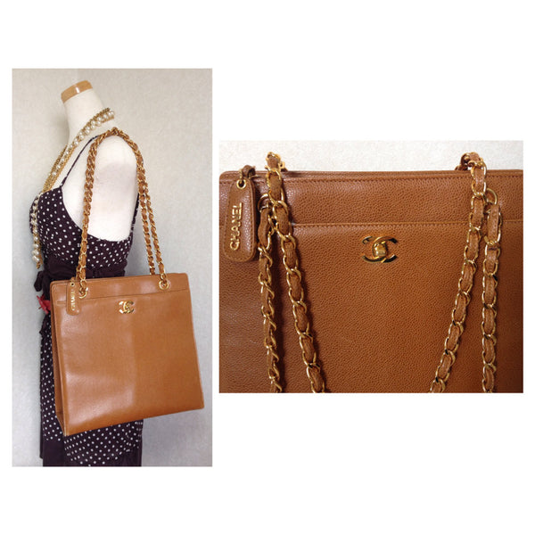 8a3fe0773839 Vintage CHANEL camel brown caviar leather square shoulder tote bag with  golden chain straps ...