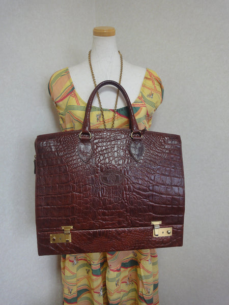 Vintage Mulberry croc embossed leather birkin doctor s bag style travel bag  with built- d8d3df9b20b00