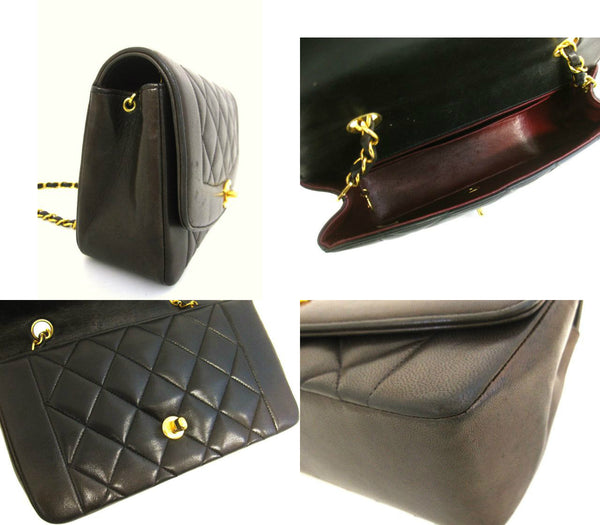 50b517ebf5e7 ... Vintage CHANEL dark brown, black color lambskin classic 2.55 shoulder  purse with gold tone chain ...