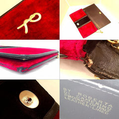 SOLD OUT: 80s Vintage Roberta di Camerino velvet clutch with chain strap