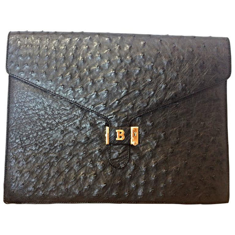 "MINT. 80's vintage BALLY, genuine black ostrich leather document case, portfolio purse, large bag. 13"",33cm width. Classic unisex daily use."