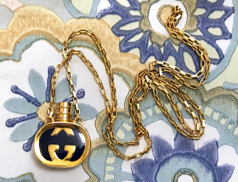 80's vintage Gucci golden chain long necklace with navy motif perfume bottle. Rare Gucci vintage jewelry. Perfect gift.