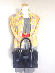 Vintage Bally dark navy genuine suede leather mini duffle, speedy type handbag purse with allover logo print. Unisex