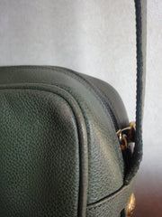 Vintage Burberry khaki leather shoulder bag with the iconic brown nova check in the interior.