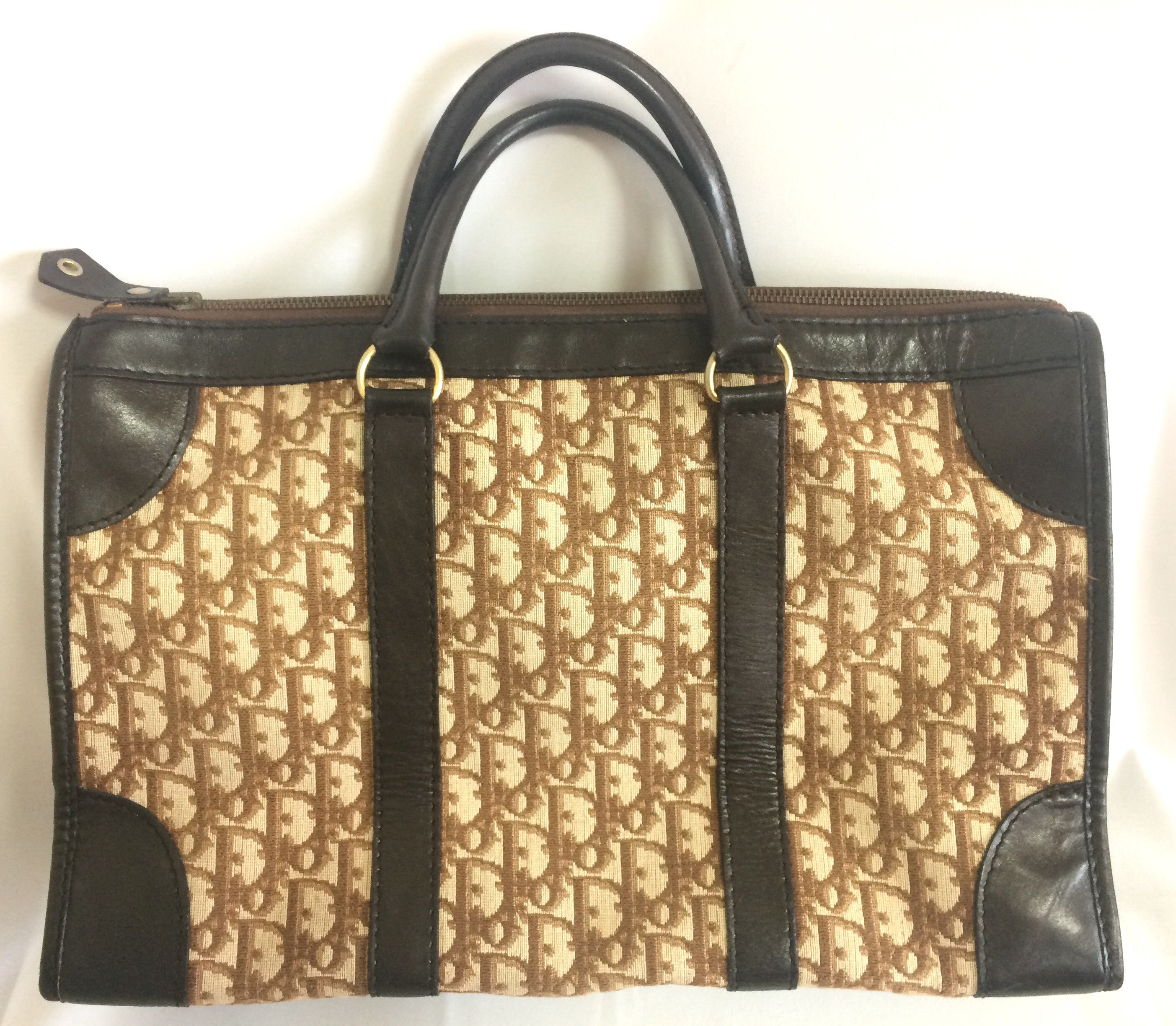 70 s Christian Dior vintage brown and beige trotter monogram tote ... 943b5124bbad0