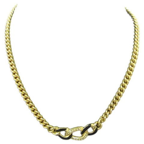 MINT. Vintage Christian Dior chain shape black, gold and rhinestone crystal necklace.  Great gift idea