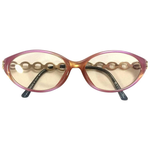 60's, 70's vintage Christian Dior pink and orange gradation sunglasses with golden chain temple. Unique and mod eyewear.
