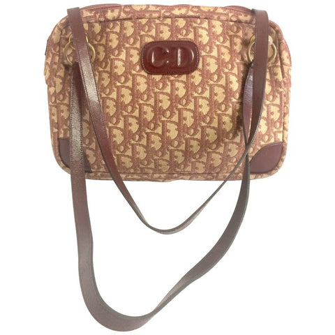 70's vintage Christian Dior wine trotter jacquard handbag with the gold tone large CD. ECLAIR zipper