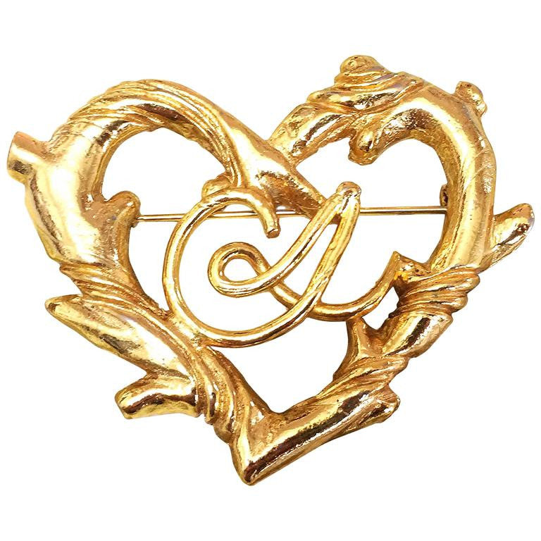 Vintage Christian Lacroix large golden heart and arabesque motif brooch, can be hat pin. Perfect gift jewelry.