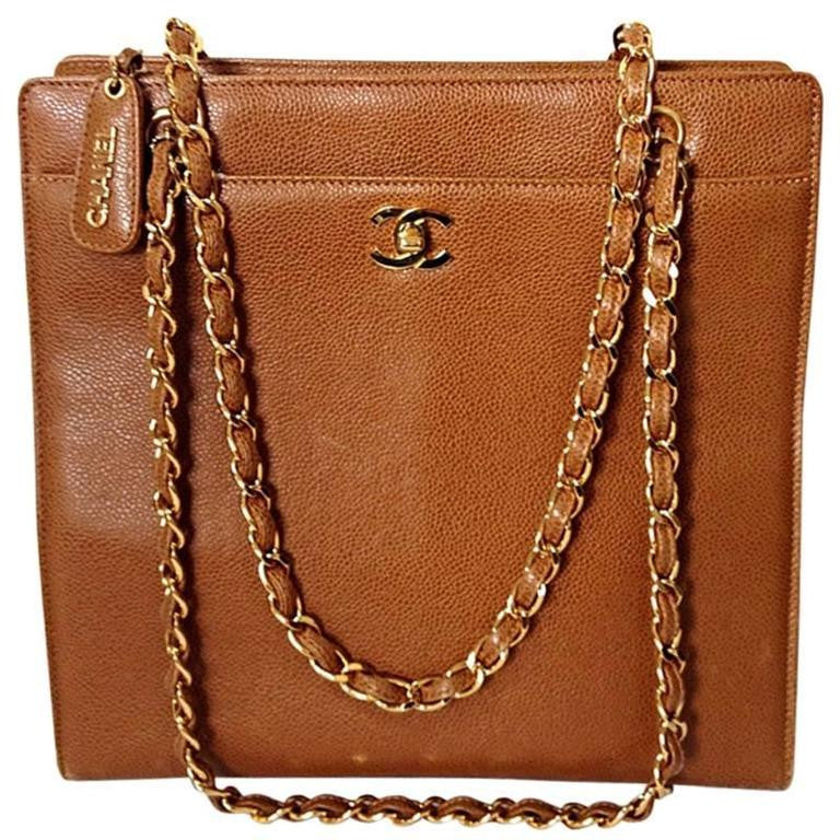6cb7d53920e0 Vintage CHANEL camel brown caviar leather square shoulder tote bag with  golden chain straps