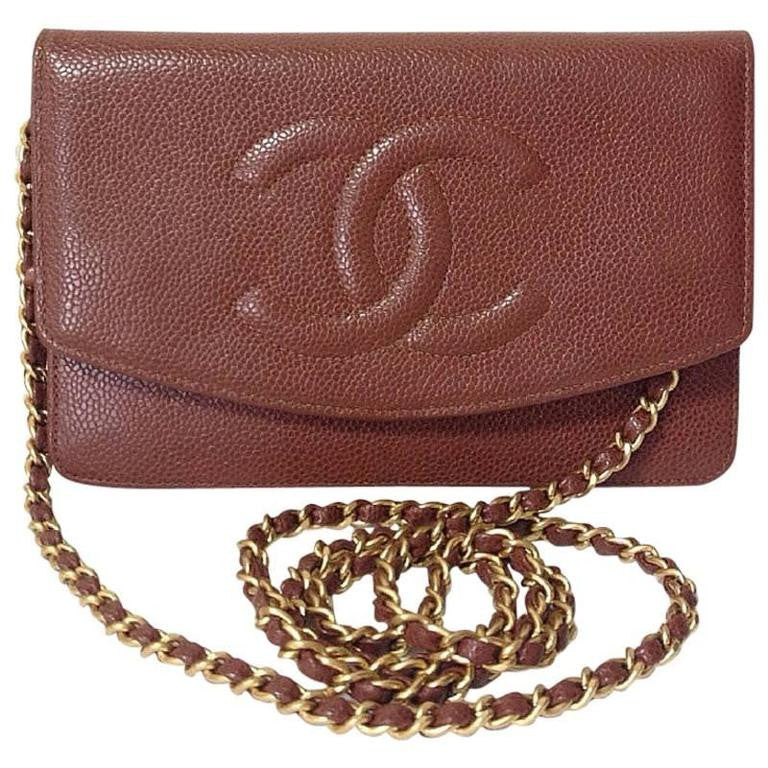 Vintage CHANEL brown caviar leather shoulder clutch bag with golden chain  and stitch mark 40671b7558216