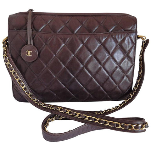 2b197a12d0e0 80 s vintage Chanel dark brown quilted lambskin shoulder bag with CC motif  and built-in
