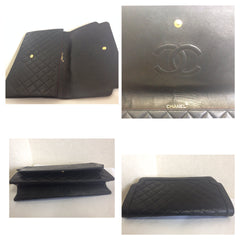 Vintage CHANEL classic black quilted lambskin document clutch purse with unique shape flap. Unisex style pouch, daily use, party bag