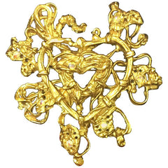Vintage Christian Lacroix golden large edwardian heart and arabesque design brooch, hat pin, jacket pin with Swarovski stones. Perfect jewelry.