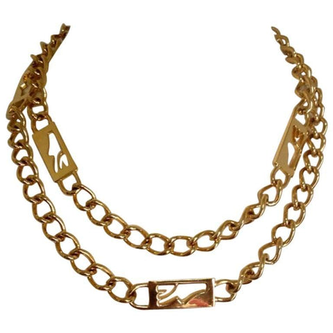 MINT. Vintage Salvatore Ferragamo chain necklace with golden shoe charm. Can be worn as belt.