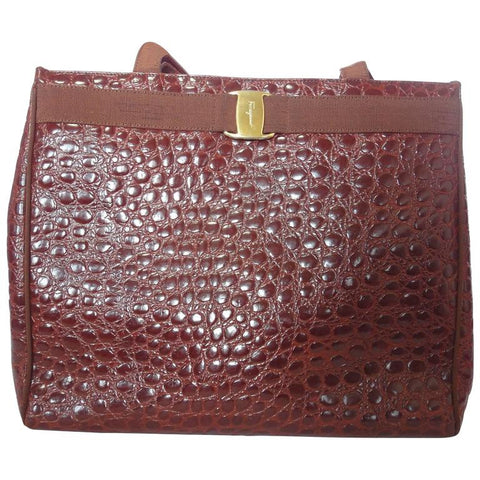 Vintage Salvatore Ferragamo brown croc embossed genuine leather tote bag with golden motif from vara collection. Classic large purse
